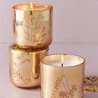 Holly Monogram Glass Candle By Anthropologie in Alphabet Size E