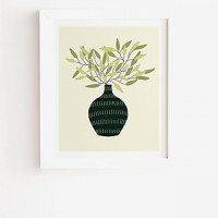 Deny Designs Vase 25 With Olive Branches Framed Wall Art Green Womens 14X16.5