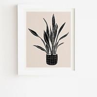 Deny Designs Black And White Snakeskin Plant Framed Wall Art Black Womens 11X13