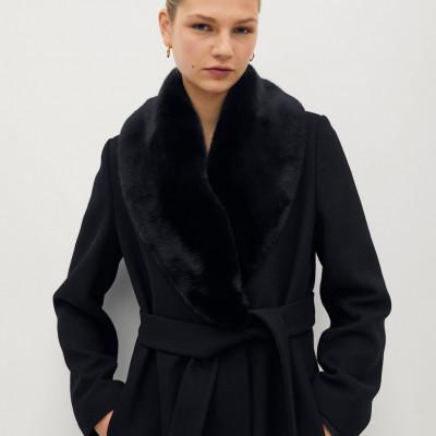 Woolen Coat With Chain Detail